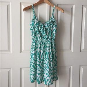 LOFT Green and white ikat jersey dress w/ruffle